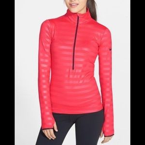 Nike Fri fit pro half zip, red stripe, Medium